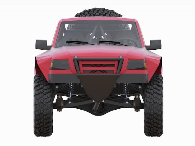砂漠地形用の最も準備された赤いスポーツレーストラック Premium写真