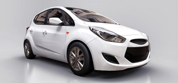 空白の表面を持つ白い都市車 Premium写真