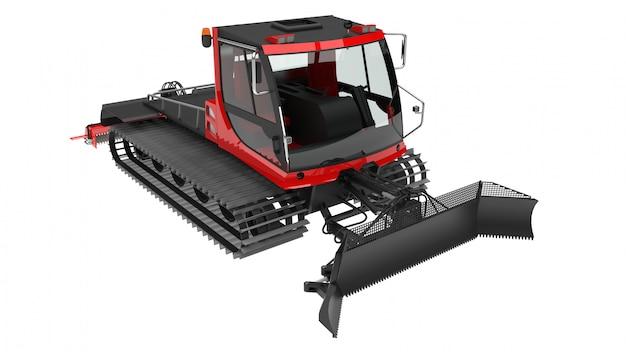 Машина для очистки горнолыжных склонов на белом фоне Premium Фотографии