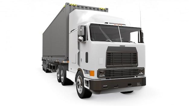 Большой ретро белый грузовик Premium Фотографии