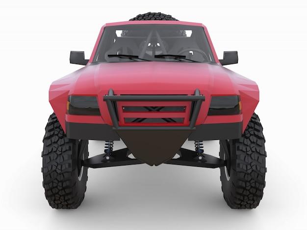 砂漠の地形用に準備されたほとんどの赤いスポーツレーストラック。 Premium写真