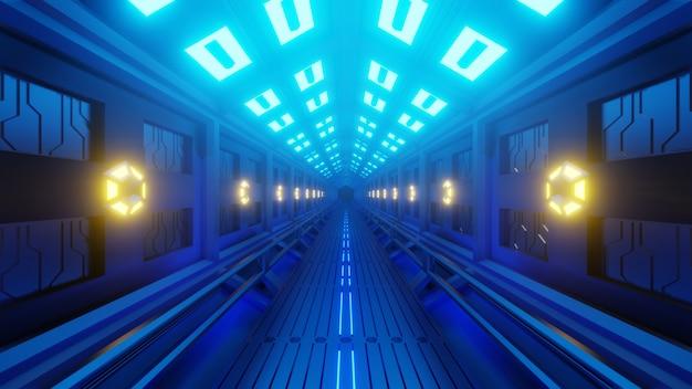 宇宙遊歩道を持つ宇宙船の未来的な六角形のトンネル。柔らかい黄青の光、廊下の壁にランプ。 Premium写真