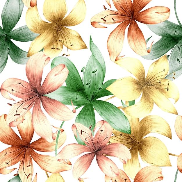 夏の花と明るい背景に葉の水彩のシームレスパターン。 Premium写真