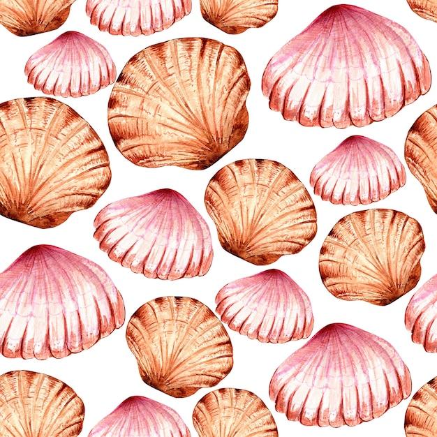マルチカラーの貝殻の水彩画のシームレスなパターン。 Premium写真