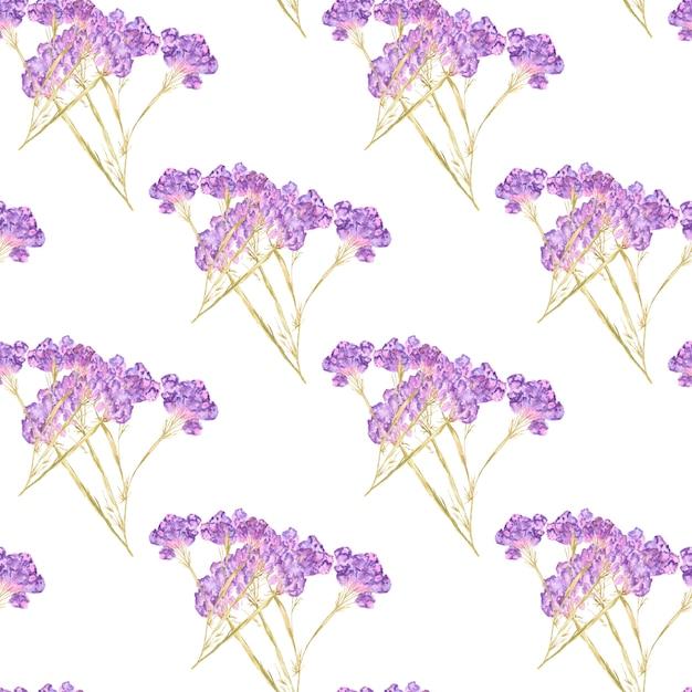 夏の花と明るい背景に葉の水彩のシームレスパターン Premium写真