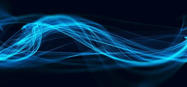 抽象的な青いフラクタル波技術の背景 無料写真