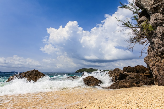 ビーチで水しぶき Premium写真