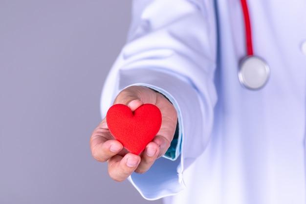 心臓病医師が病院で赤いハートを保持 Premium写真