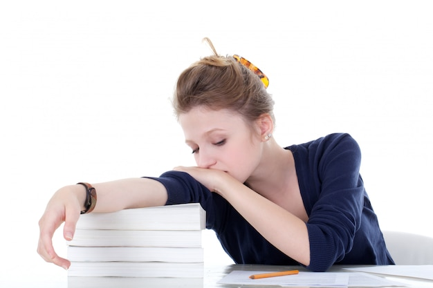 ストレスがたまって若い女子学生 Premium写真