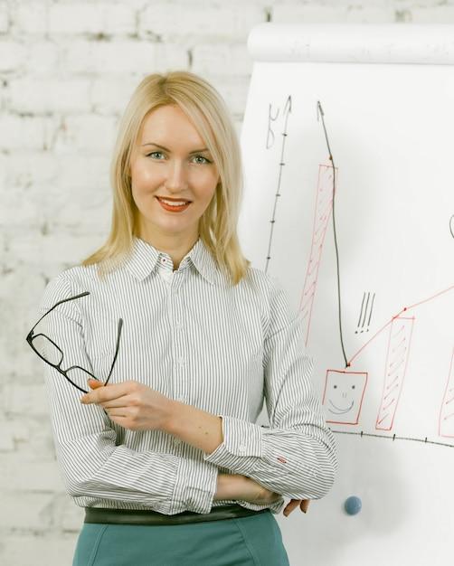Бизнес-леди представляет бизнес-план стоя около белой доски с диаграммой, диаграммами и диаграммами на ем. Premium Фотографии
