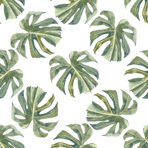 Зеленые экзотические ветви и листья бесшовные модели. модные тропические пальмовые листья. пыльная зелень Premium Фотографии