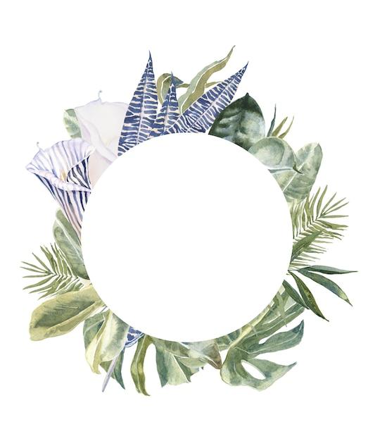 Полевые цветы принт из кожи животных, тропические листья венок Premium Фотографии