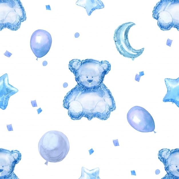 明るい光沢のある風船、星、テディベアと青い子供シームレスパターン Premium写真