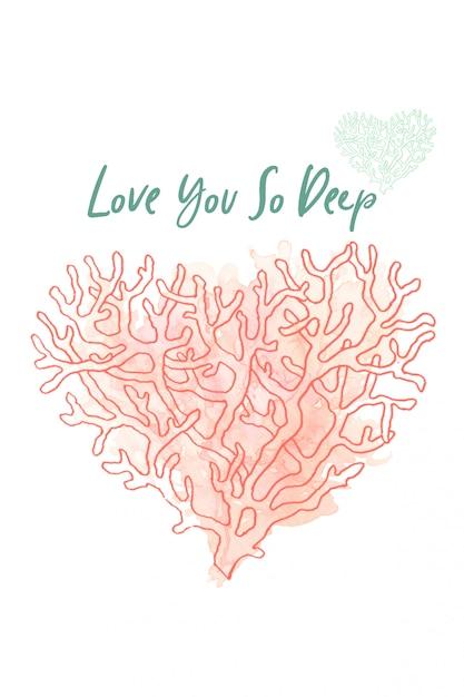 Любящая коралловая акварель. дизайн открытки. коралловое сердце любви. день святого валентина Premium Фотографии