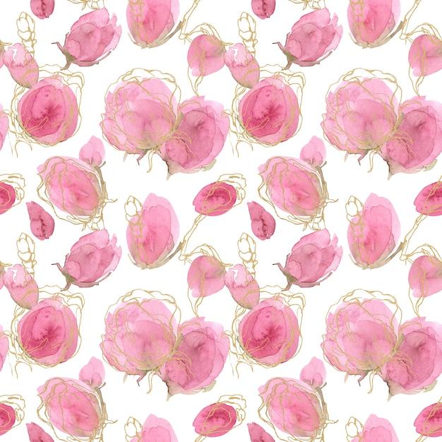 バラの春と夏のシームレスな花柄。 Premium写真