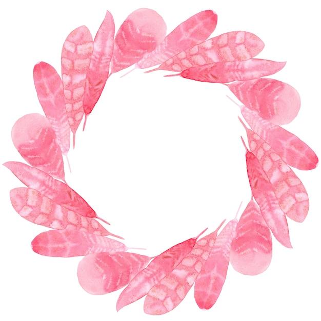 ピンクの紙の羽の水彩画のプリント生地 Premium写真