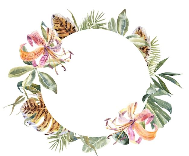 Лили цветы и тропические листья рамка. экзотический цветочный венок Premium Фотографии