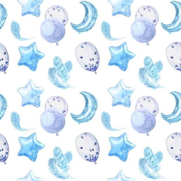 明るい光沢のある風船、星と羽の青い子供のシームレスパターン Premium写真