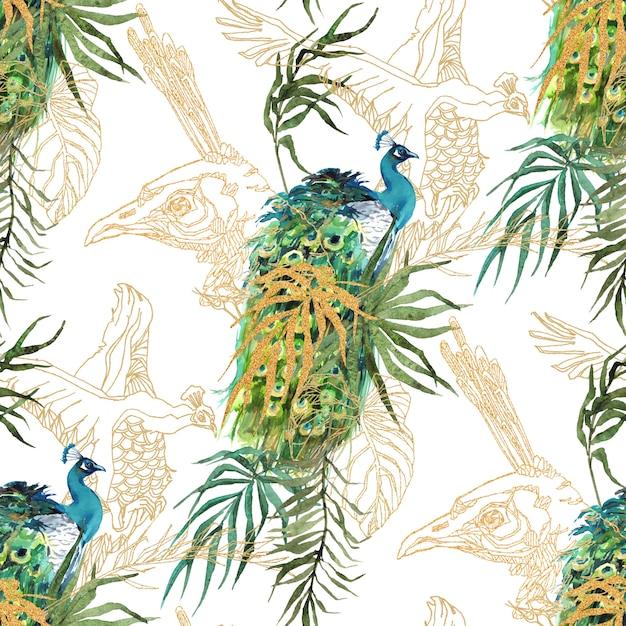 Перья павлина и тропические листья акварельный рисунок Premium Фотографии