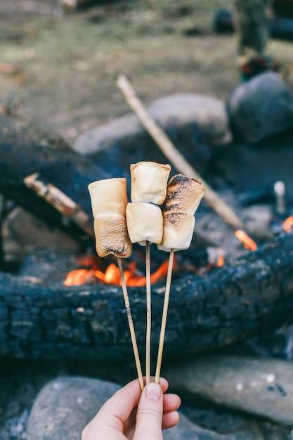 火の上の棒にマシュマロ火のマシュマロを調理 Premium写真