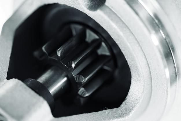 ローターのクローズアップと自動車部品の背景画像。 Premium写真