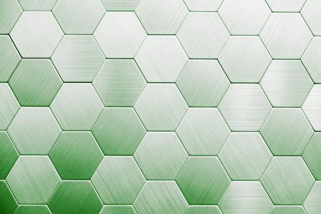 抽象的な銀の金属の背景。幾何学的な六角形 Premium写真