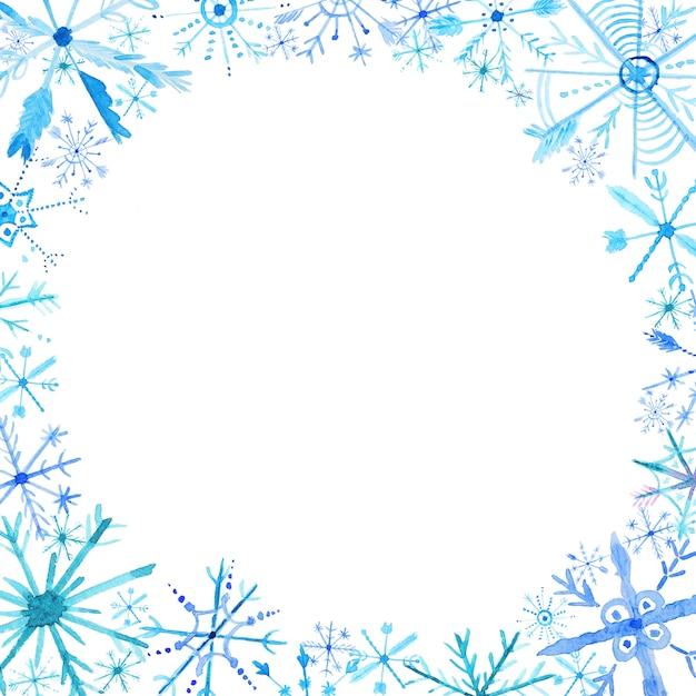 水彩雪片フレームの背景 Premium写真