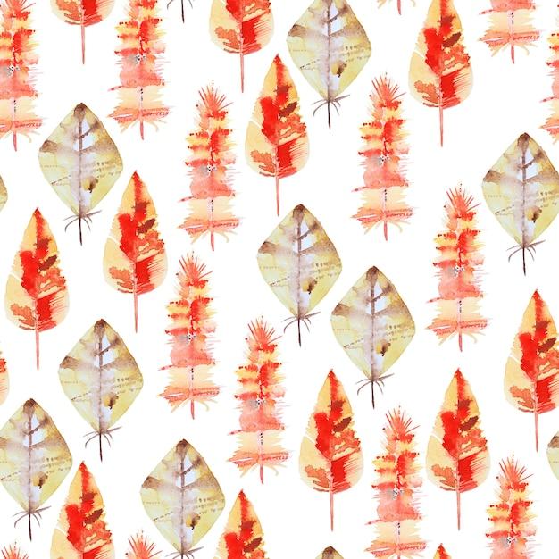 羽と水彩のシームレスパターン Premium写真