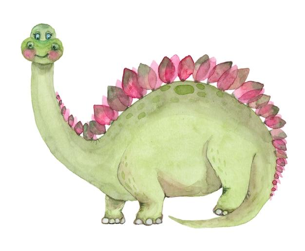 Акварельные динозавры стегозавра Premium Фотографии