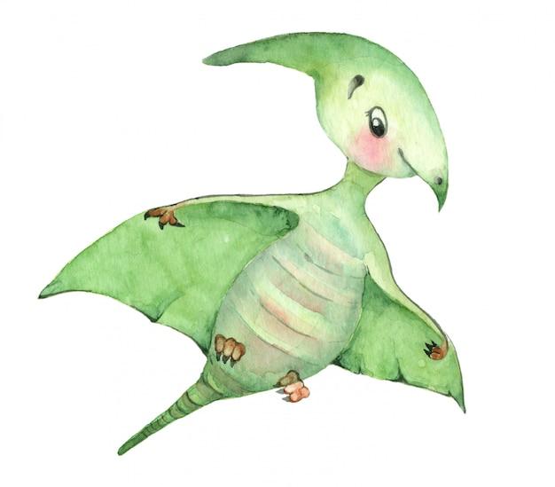 Акварельные динозавры птерозавр Premium Фотографии