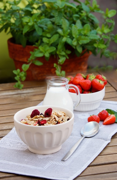 健康的な朝食-凍結乾燥ラズベリーと新鮮なイチゴのシリアル Premium写真