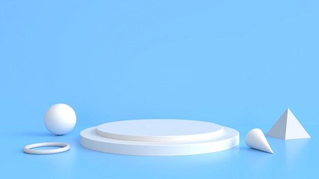 白い製品は青い背景の上に立ちます。抽象的な最小限のジオメトリの概念。 Premium写真