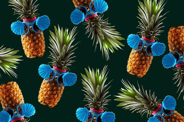 Ретро дизайн концепции тропического стиля. паттерн с битник ананас летнее украшение фон Premium Фотографии