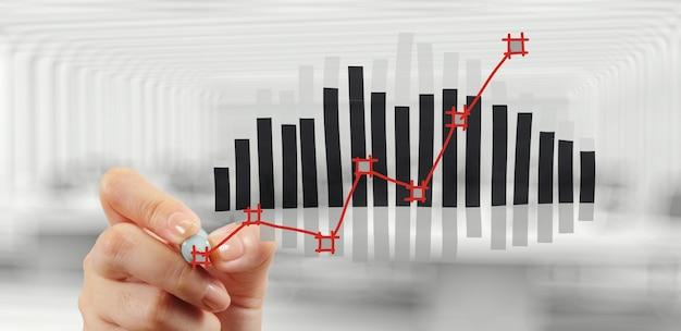 Диаграмма графика чертежа руки и стратегия бизнеса как концепция Premium Фотографии