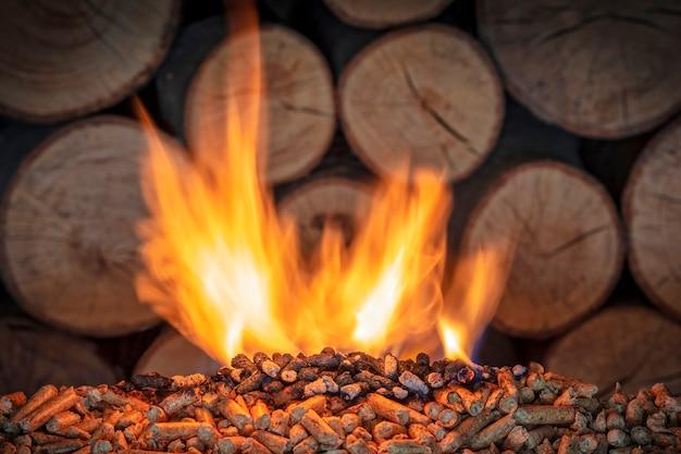 燃える木質ペレット Premium写真