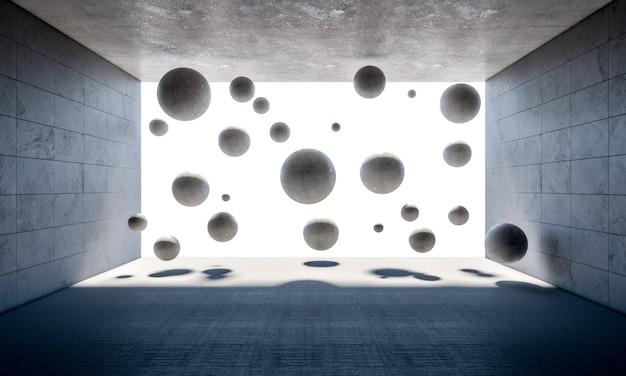 部屋の中のコンクリートボール Premium写真