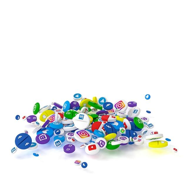 最も有名なソーシャルネットワークのロゴを付けた様々な種類や大きさの丸薬。 Premium写真