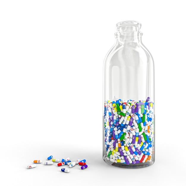 最も有名なソーシャルネットワークのロゴが入ったボトルに入ったさまざまな種類や大きさの丸薬。 Premium写真