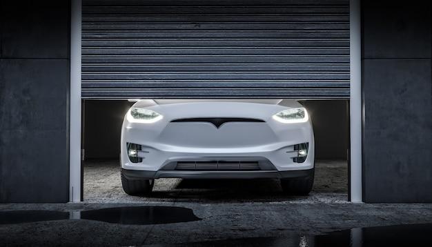 ヘッドライト付きの現代の電気機械 Premium写真