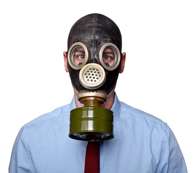 Человек с маской на белом Premium Фотографии