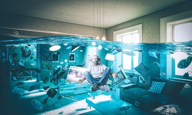 Гостиная залита проплывающими предметами и человеком с длинными волосами Premium Фотографии