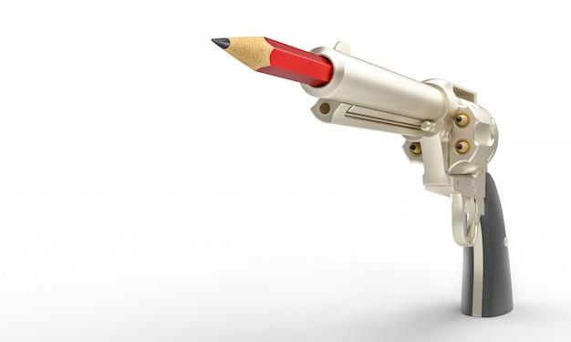 Пистолет с красным карандашом в стволе, концепция творчества Premium Фотографии