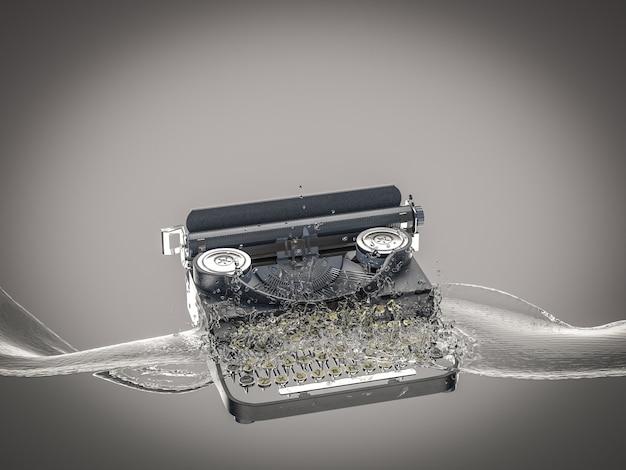 ヴィンテージタイプライターは水に落ち、水しぶきを作成します。 Premium写真