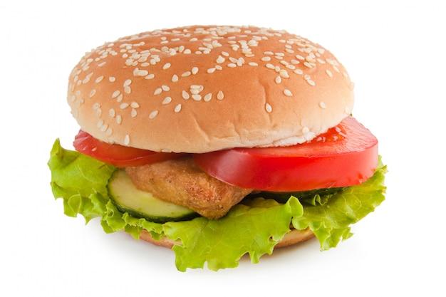 分離されたハンバーガー Premium写真