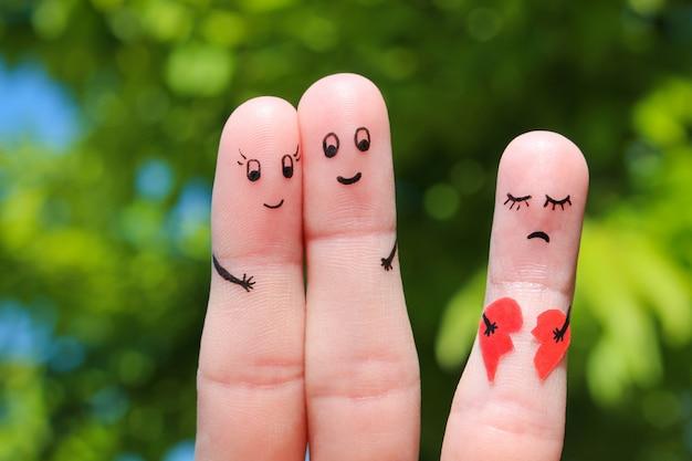 幸せなカップルの指アート。 Premium写真