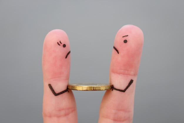 けんか中に家族の指アート。 Premium写真