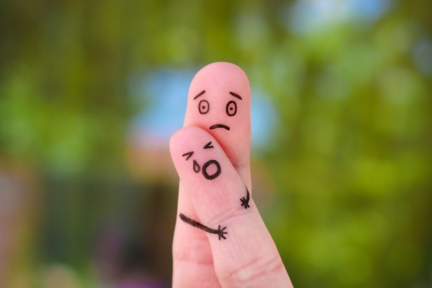 Пальцы искусство семьи во время ссоры. Premium Фотографии