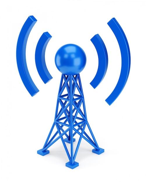 Синий значок антенны Premium Фотографии