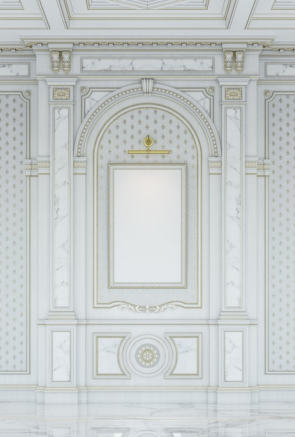 大理石の挿入物が付いている古典的な様式の白い木の切り分けられたパネル。 Premium写真