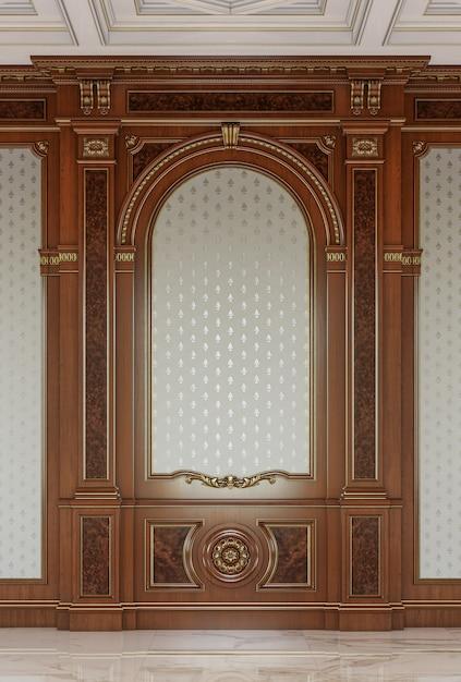 クラシックなスタイルの木彫りパネル。 Premium写真